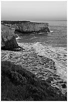 Wave and sea  cliffs at sunset, Wilder Ranch State Park. California, USA (black and white)