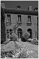 Garden and Filoli House. Woodside,  California, USA (black and white)