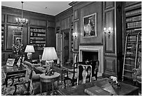 Room with antique furnishings, Filoli estate. Woodside,  California, USA (black and white)