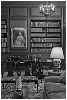 Antique furniture and bookshelves, Filoli estate. Woodside,  California, USA (black and white)