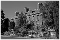 Garden and house, Filoli estate. Woodside,  California, USA (black and white)