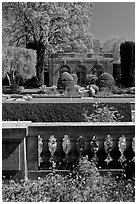 Balustrade, sunken garden, and garden house, Filoli estate. Woodside,  California, USA (black and white)