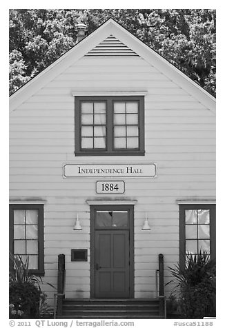 Independence Hall 1884. Woodside,  California, USA (black and white)