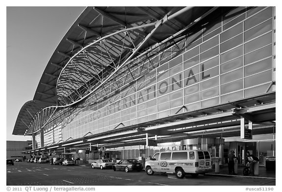 San Francisco International Airport. California, USA (black and white)