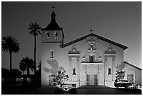 Santa Clara Mission illuminated at dusk. Santa Clara,  California, USA (black and white)