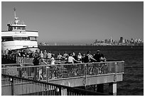 Arrival of San Francisco ferry, Sausalito. California, USA (black and white)