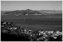 Angel Island seen from hills. California, USA (black and white)