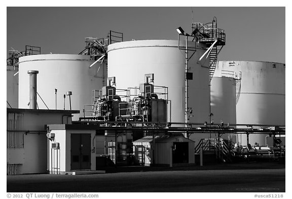 Oil tanks, Richmond. Richmond, California, USA (black and white)