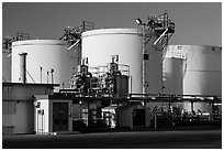 Oil tanks, Richmond. Richmond, California, USA ( black and white)