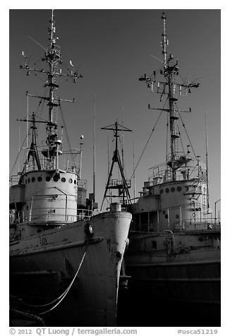 Retired warships, Rosie the Riveter/World War II Home Front National Historical Park. Richmond, California, USA (black and white)