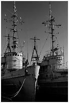 Retired warships, Rosie the Riveter/World War II Home Front National Historical Park. Richmond, California, USA ( black and white)