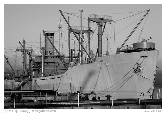 SS Red Oak Victory ship, Rosie the Riveter National Historical Park. Richmond, California, USA (black and white)