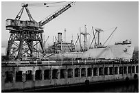Shipyard No 3 and Red Oak Victory ship, World War II Home Front National Historical Park. Richmond, California, USA (black and white)