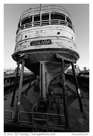 Boat on dry dock, Shipyard No 3, World War II Home Front National Historical Park. Richmond, California, USA (black and white)