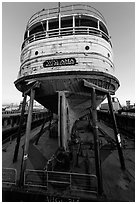 Boat on dry dock, Shipyard No 3, World War II Home Front National Historical Park. Richmond, California, USA ( black and white)