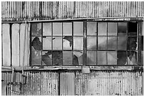 Broken windows, Shipyard No 3, World War II Home Front National Historical Park. Richmond, California, USA ( black and white)