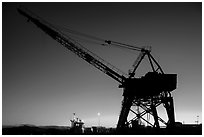 Crane at sunset, Shipyard No 3, Rosie the Riveter National Historical Park. Richmond, California, USA (black and white)