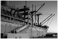 Victory and Liberty ship at dusk, Rosie the Riveter/World War II Home Front National Historical Park. Richmond, California, USA ( black and white)