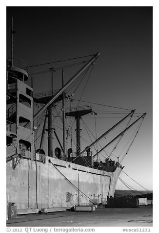 SS Red Oak Victory ship, Shipyard No 3, World War II Home Front National Historical Park. Richmond, California, USA (black and white)