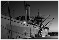 SS Red Oak Victory ship at dusk, Rosie the Riveter National Historical Park. Richmond, California, USA ( black and white)