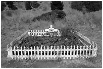 Grave of Blackie (horse), Tiburon. California, USA ( black and white)