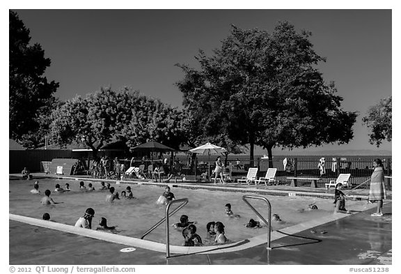 Public swimming pool, McNears Beach County Park. San Pablo Bay, California, USA (black and white)