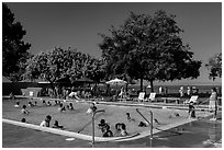 Public swimming pool, McNears Beach County Park. San Pablo Bay, California, USA ( black and white)