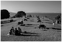 Grassy picnic area, China Camp State Park. San Pablo Bay, California, USA (black and white)