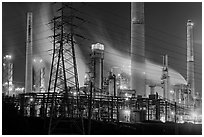 Shell Refinery by night. Martinez, California, USA (black and white)