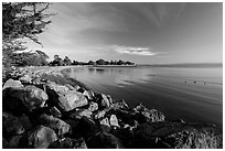 Beach in late afternoon, Robert W Crown Memorial State Beach. Alameda, California, USA (black and white)