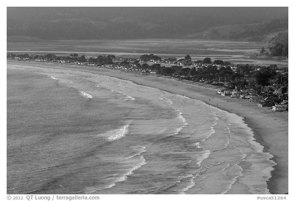 Surf, beach and town from above. California, USA (black and white)