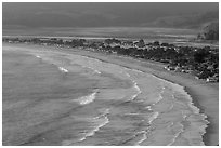 Surf, beach and town from above. California, USA ( black and white)