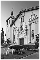 Santa Clara University Mission Santa Clara de Asis. Santa Clara,  California, USA (black and white)