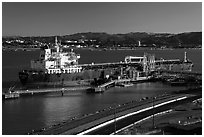 Oil tanker and Carquinez Strait. Martinez, California, USA (black and white)