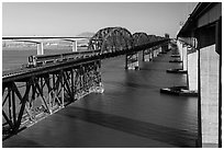 Benicia-Martinez bridges over Carquinez Strait. Martinez, California, USA ( black and white)