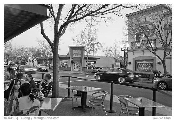 Outdoor tables on main street, Campbell. California, USA (black and white)