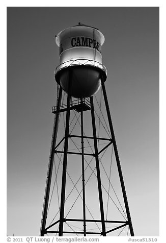 Water tower at dusk, Campbell. California, USA (black and white)
