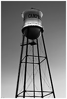 Water tower at dusk, Campbell. California, USA ( black and white)