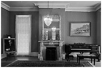 Piano room, John Muir Home, John Muir National Historic Site. Martinez, California, USA ( black and white)