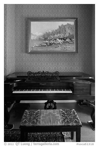 Piano and landscape painting, John Muir Home, John Muir National Historic Site. Martinez, California, USA (black and white)