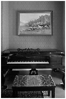 Piano and landscape painting, John Muir Home, John Muir National Historic Site. Martinez, California, USA ( black and white)