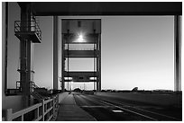 Mobile bridge at dusk, Mare Island, Vallejo. San Pablo Bay, California, USA ( black and white)