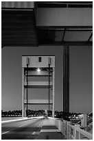 Bridge at dusk, Mare Island causeway, Vallejo. San Pablo Bay, California, USA ( black and white)