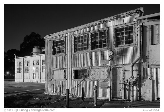 Mare Island naval shipyard at night, Vallejo. San Pablo Bay, California, USA (black and white)