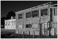 Mare Island naval shipyard at night, Vallejo. San Pablo Bay, California, USA ( black and white)