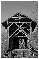 Felton Covered Bridge, tallest in America. California, USA (black and white)
