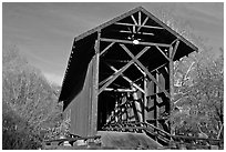 Brown truss covered bridge over the San Lorenzo River, Felton. California, USA (black and white)