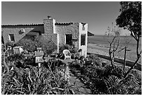 Cottages and beach. Capitola, California, USA ( black and white)