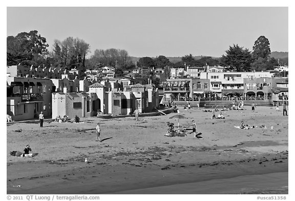 Capitola beach and village. Capitola, California, USA (black and white)