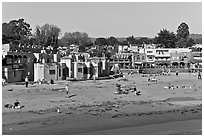 Capitola beach and village. Capitola, California, USA ( black and white)